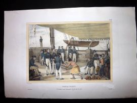 d'Urville 1835 Folio Hand Col Print. Native on Board Ship at Tonga